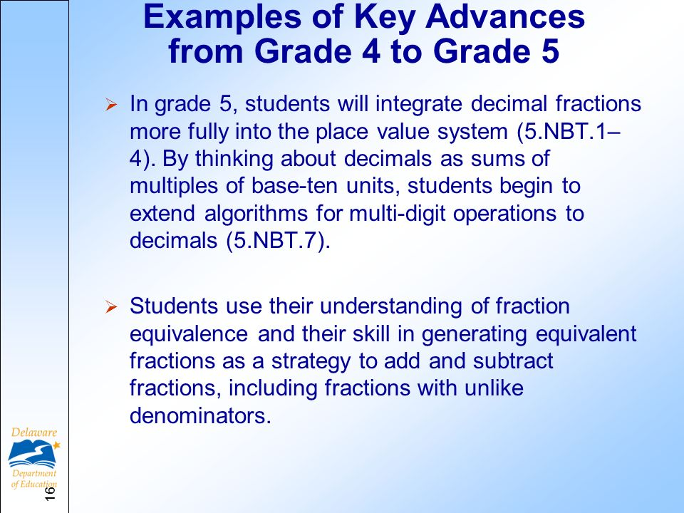 Examples of Key Advances from Grade 4 to Grade 5 In grade 5, students will integrate decimal fractions more fully into the place value system (5.NBT.1– 4).