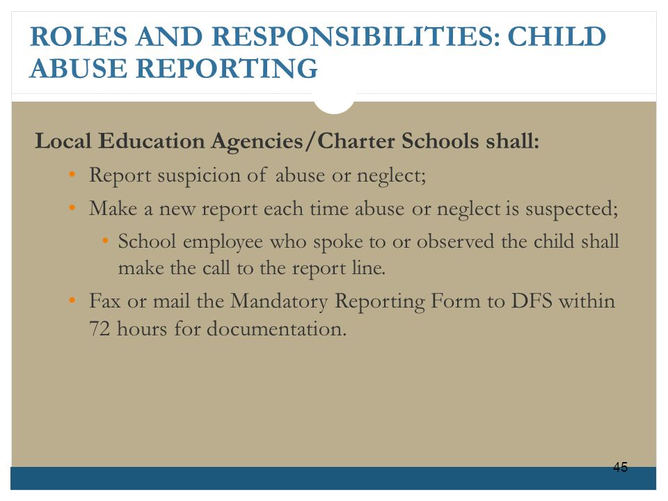 ROLES AND RESPONSIBILITIES: CHILD ABUSE REPORTING Local Education Agencies/Charter Schools shall: Report suspicion of abuse or neglect; Make a new rep