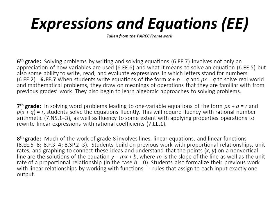 6 th grade: Solving problems by writing and solving equations (6.EE.7) involves not only an appreciation of how variables are used (6.EE.6) and what it means to solve an equation (6.EE.5) but also some ability to write, read, and evaluate expressions in which letters stand for numbers (6.EE.2).