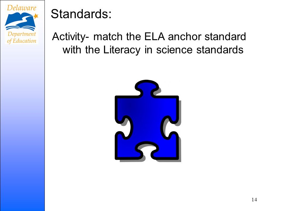 Standards: Activity- match the ELA anchor standard with the Literacy in science standards 14