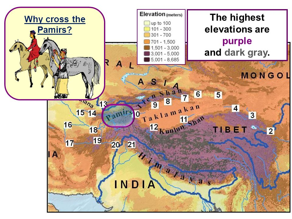 The highest elevations are purple and dark gray. Why cross the Pamirs?