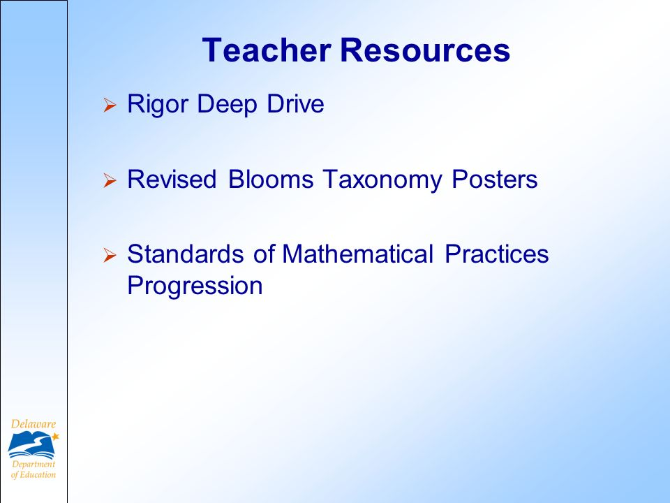 Teacher Resources Rigor Deep Drive Revised Blooms Taxonomy Posters Standards of Mathematical Practices Progression