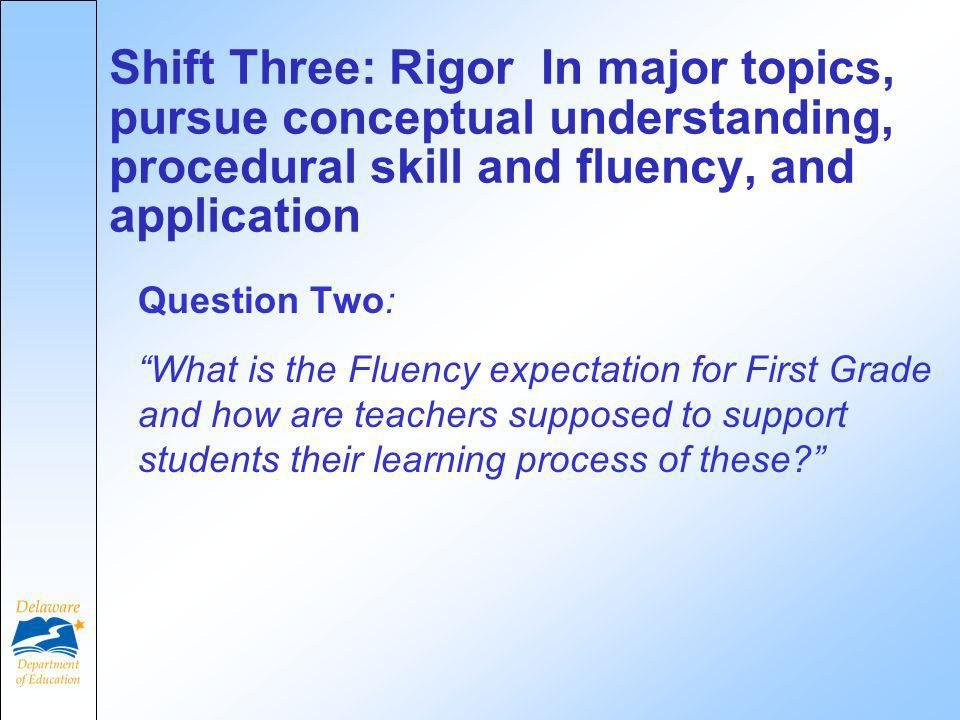 Question Two: What is the Fluency expectation for First Grade and how are teachers supposed to support students their learning process of these.