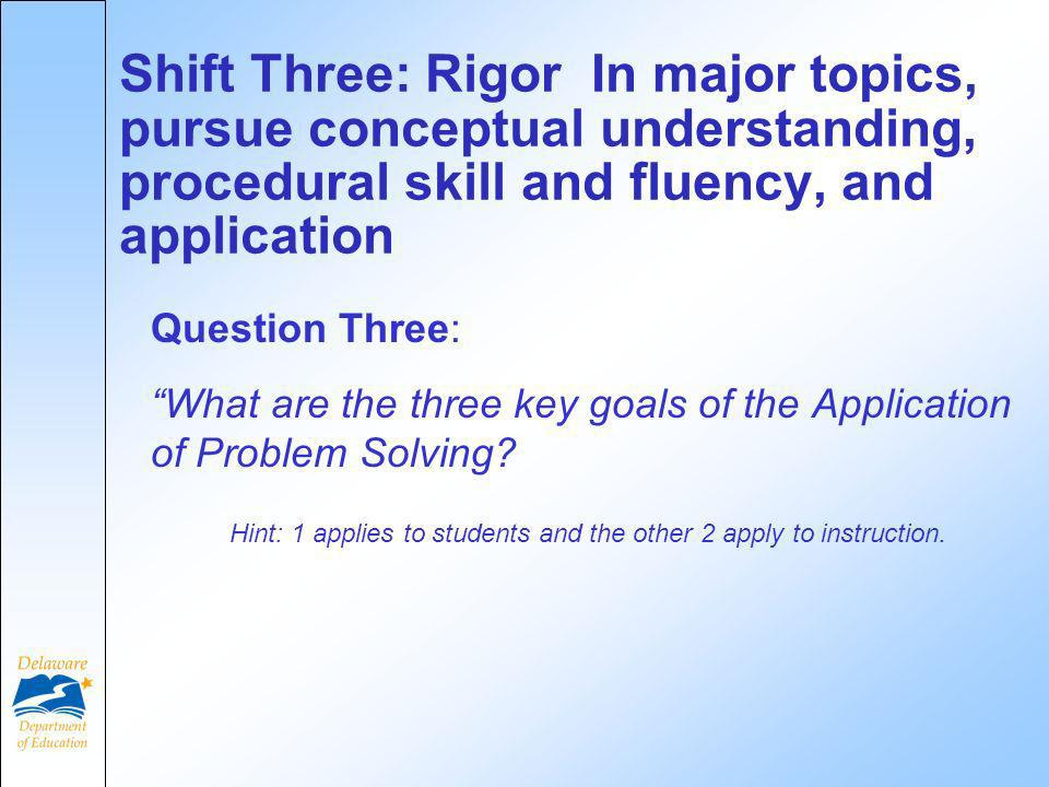 Question Three: What are the three key goals of the Application of Problem Solving.