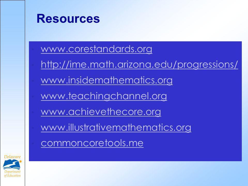 Resources www.corestandards.org http://ime.math.arizona.edu/progressions/ www.insidemathematics.org www.teachingchannel.org www.achievethecore.org www.illustrativemathematics.org commoncoretools.me