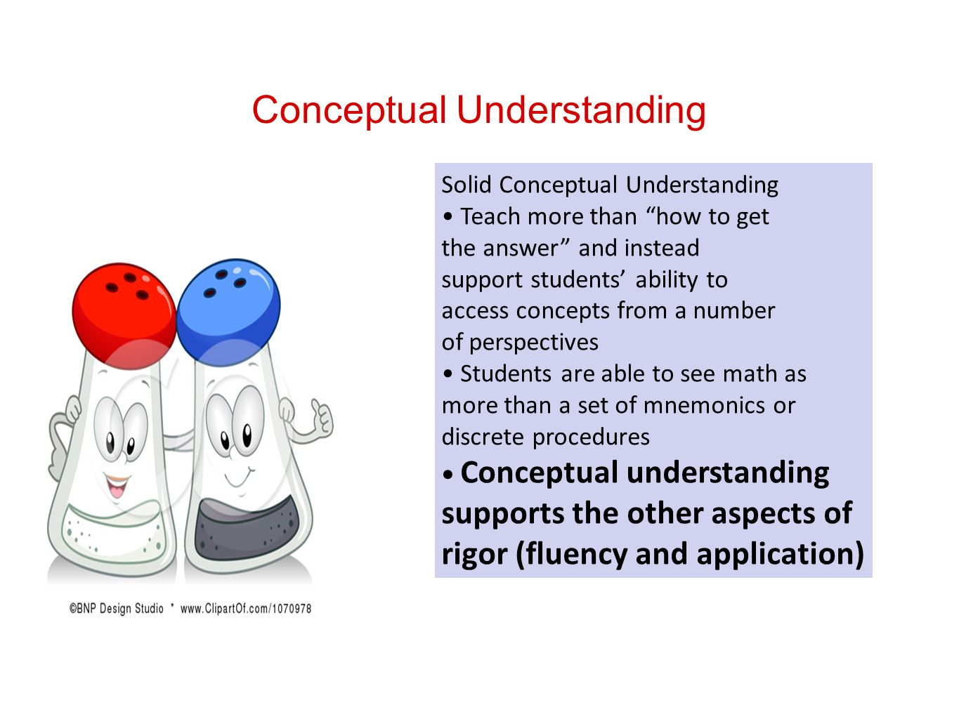 Conceptual Understanding Solid Conceptual Understanding Teach more than how to get the answer and instead support students ability to access concepts