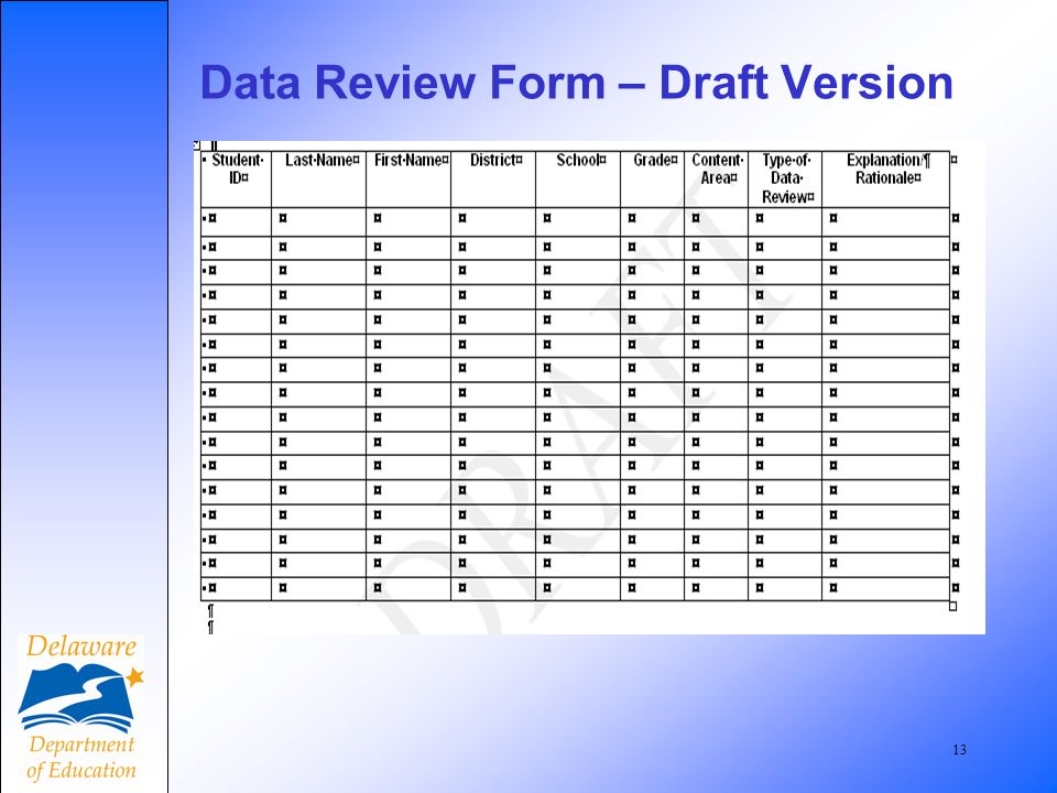 13 Data Review Form – Draft Version