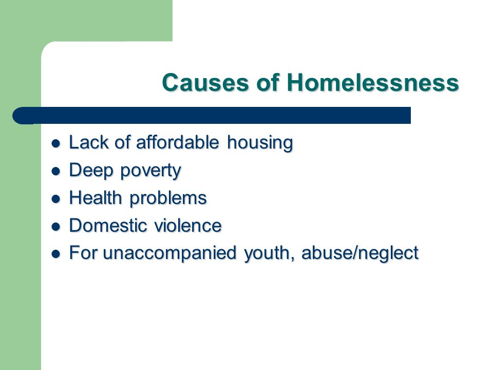 Causes of Homelessness Lack of affordable housing Lack of affordable housing Deep poverty Deep poverty Health problems Health problems Domestic violence Domestic violence For unaccompanied youth, abuse/neglect For unaccompanied youth, abuse/neglect