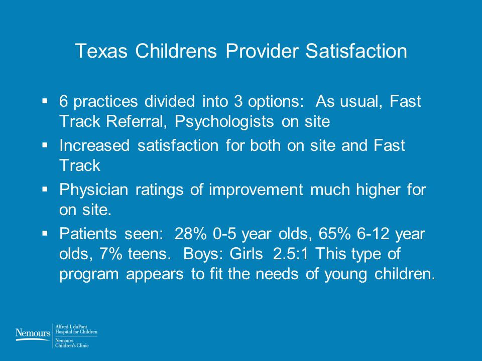 Texas Childrens Provider Satisfaction 6 practices divided into 3 options: As usual, Fast Track Referral, Psychologists on site Increased satisfaction for both on site and Fast Track Physician ratings of improvement much higher for on site.