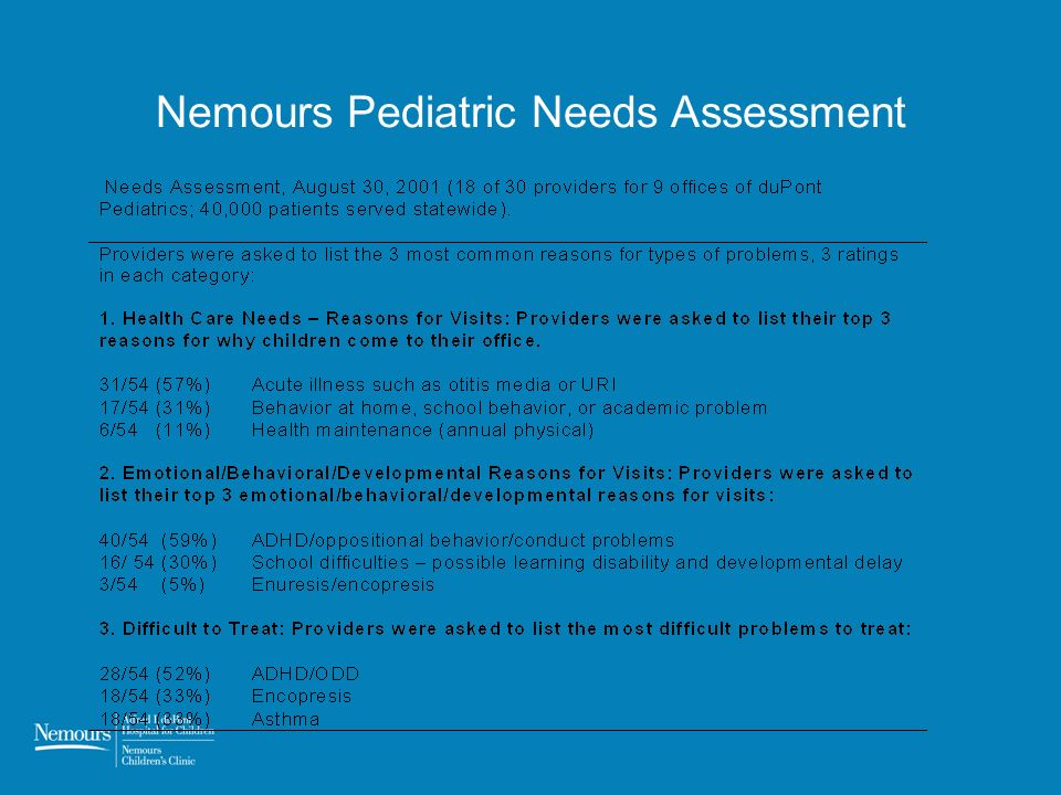 Nemours Pediatric Needs Assessment