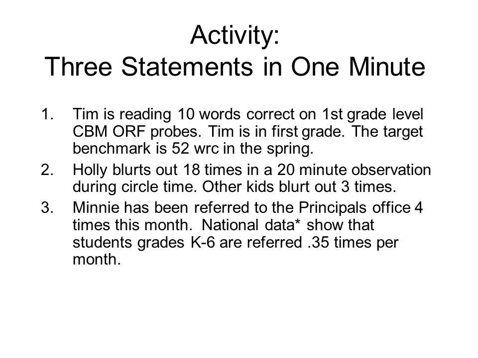 One Minute Activity: Discrepancy Statement JimmySame-age peers Off task9% Out of Place0% Noise40%3% Physical Contact0% Total time academically engaged