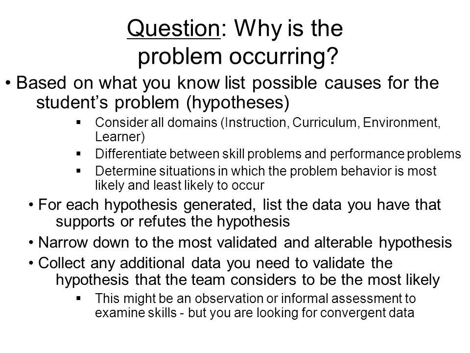 Warning!!! Teams: Do Not discuss hypotheses for why the behavior is occurring before you have defined the behavior you are considering. Team note take