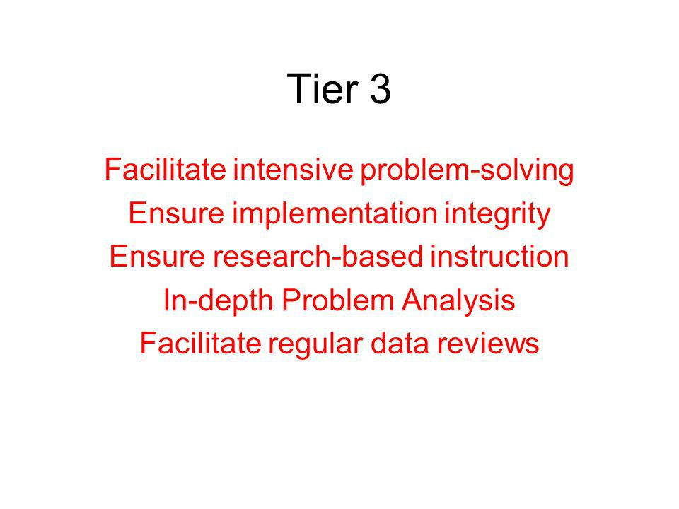 Tier 2 Facilitate problem-solving teams Influence Standard Treatment Protocol Ensure implementation integrity Ensure research-based instruction Facili