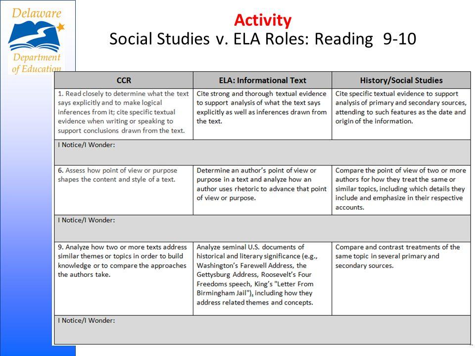Activity Social Studies v. ELA Roles: Reading 9-10 16