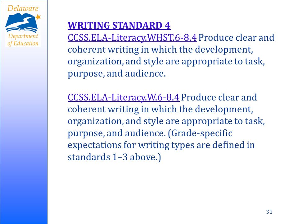 31 WRITING STANDARD 4 CCSS.ELA-Literacy.WHST.6-8.4CCSS.ELA-Literacy.WHST.6-8.4 Produce clear and coherent writing in which the development, organization, and style are appropriate to task, purpose, and audience.