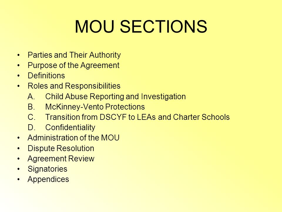 TODAYS PRESENTATION WILL COVER MOU sections What the major revisions are The purpose of the MOU Roles and responsibilities highlights Whats new? Quest