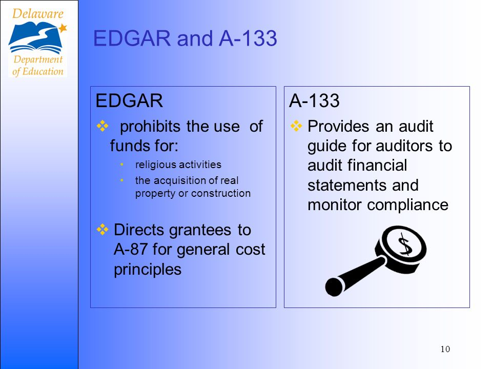 EDGAR and A-133 EDGAR prohibits the use of funds for: religious activities the acquisition of real property or construction Directs grantees to A-87 f