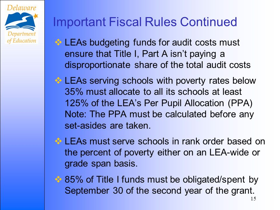 Important Fiscal Rules Continued LEAs budgeting funds for audit costs must ensure that Title I, Part A isnt paying a disproportionate share of the total audit costs LEAs serving schools with poverty rates below 35% must allocate to all its schools at least 125% of the LEAs Per Pupil Allocation (PPA) Note: The PPA must be calculated before any set-asides are taken.