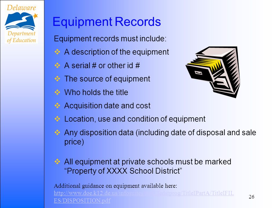 Equipment Records Equipment records must include: A description of the equipment A serial # or other id # The source of equipment Who holds the title