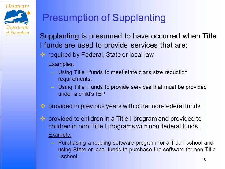Presumption of Supplanting Supplanting is presumed to have occurred when Title I funds are used to provide services that are: required by Federal, Sta