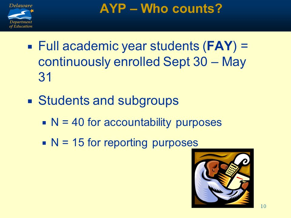 10 AYP – Who counts.