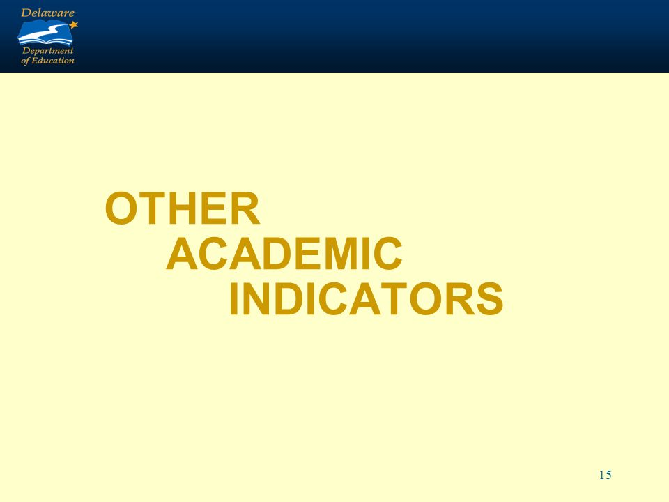 15 OTHER ACADEMIC INDICATORS