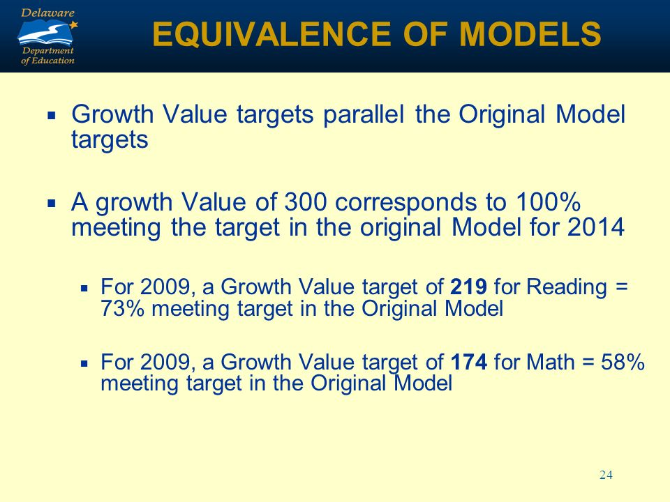 24 EQUIVALENCE OF MODELS Growth Value targets parallel the Original Model targets A growth Value of 300 corresponds to 100% meeting the target in the original Model for 2014 For 2009, a Growth Value target of 219 for Reading = 73% meeting target in the Original Model For 2009, a Growth Value target of 174 for Math = 58% meeting target in the Original Model