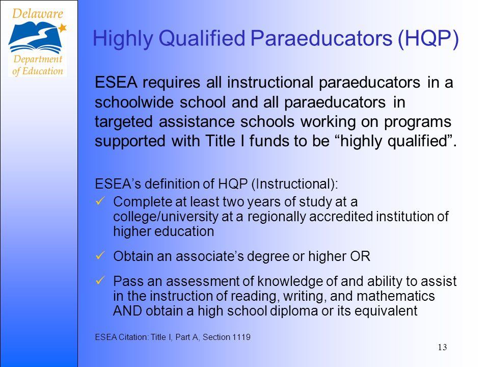 ESEA requires all instructional paraeducators in a schoolwide school and all paraeducators in targeted assistance schools working on programs supported with Title I funds to be highly qualified.