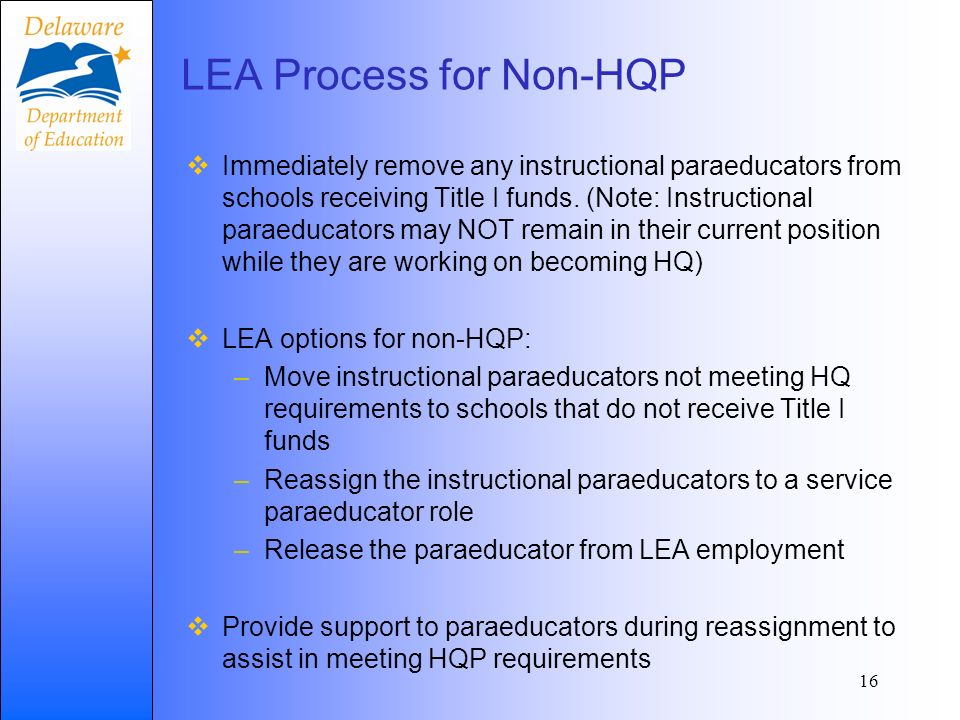 16 LEA Process for Non-HQP Immediately remove any instructional paraeducators from schools receiving Title I funds.