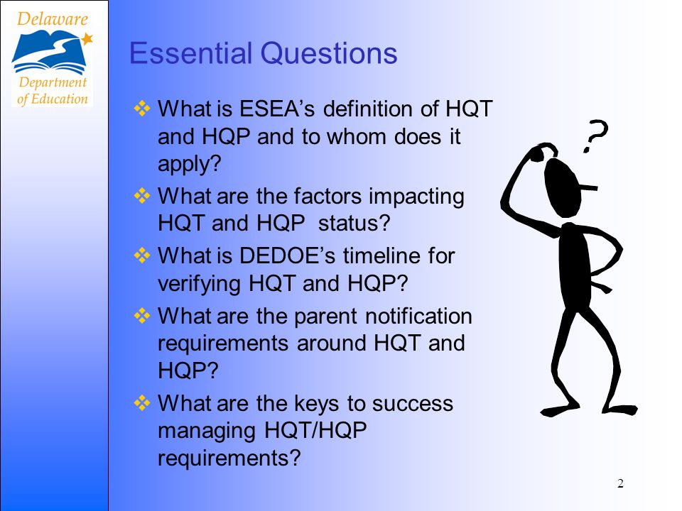 Essential Questions What is ESEAs definition of HQT and HQP and to whom does it apply.