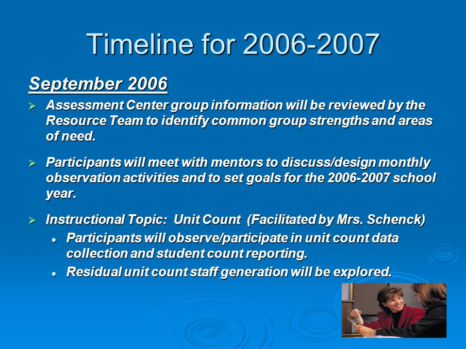 Timeline for September 2006 Assessment Center group information will be reviewed by the Resource Team to identify common group strengths and areas of need.