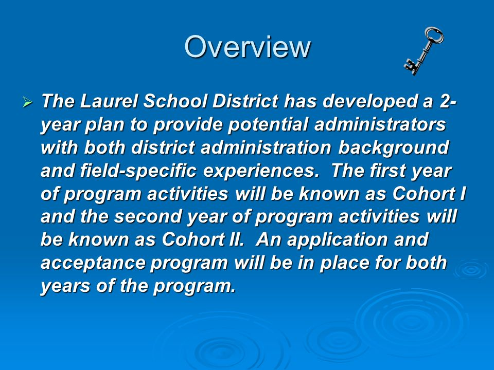 Overview The Laurel School District has developed a 2- year plan to provide potential administrators with both district administration background and