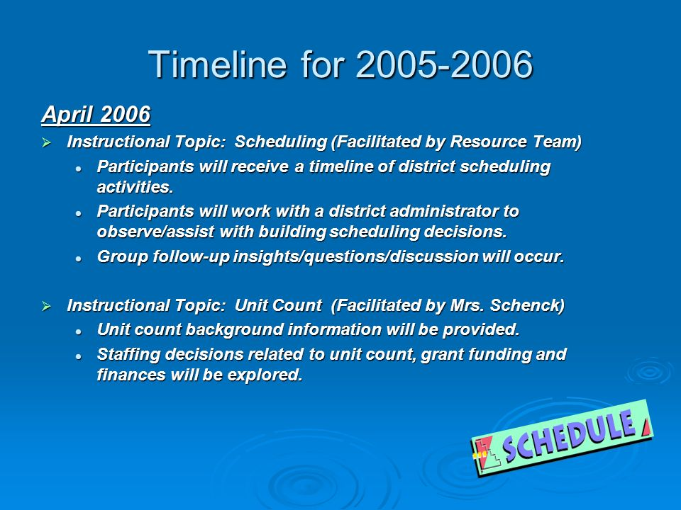 Timeline for April 2006 Instructional Topic: Scheduling (Facilitated by Resource Team) Instructional Topic: Scheduling (Facilitated by Resource Team) Participants will receive a timeline of district scheduling activities.