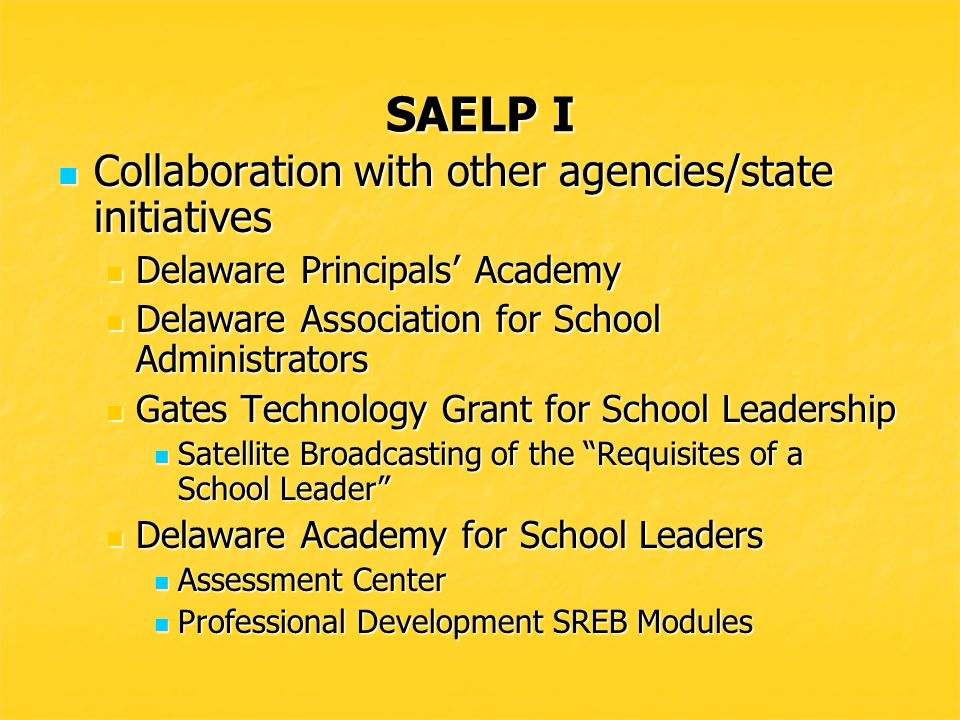 SAELP I Task Force for Developing Skills and Knowledge Clusters for School Leaders Task Force for Developing Skills and Knowledge Clusters for School Leaders Task Force met to discuss the professional development needs of school leaders Task Force met to discuss the professional development needs of school leaders Eight mini-grants were funded at $2,000 each Eight mini-grants were funded at $2,000 each Proposals were requested from districts and IHEs to develop skills and knowledge clusters focused on one or more of the ISLLC Standards for school leaders.