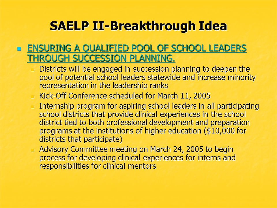 SAELP II-Breakthrough Idea MODELS OF DISTRIBUTIVE LEADERSHIP MODELS OF DISTRIBUTIVE LEADERSHIP Partnering with four districts to develop and pilot models of distributed leadership in middle and high schools.
