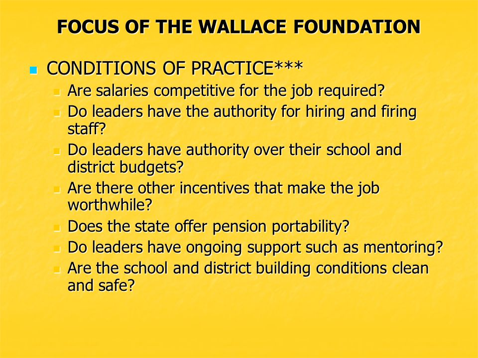 FOCUS OF THE WALLACE FOUNDATION Do new leaders have pre-service opportunities.