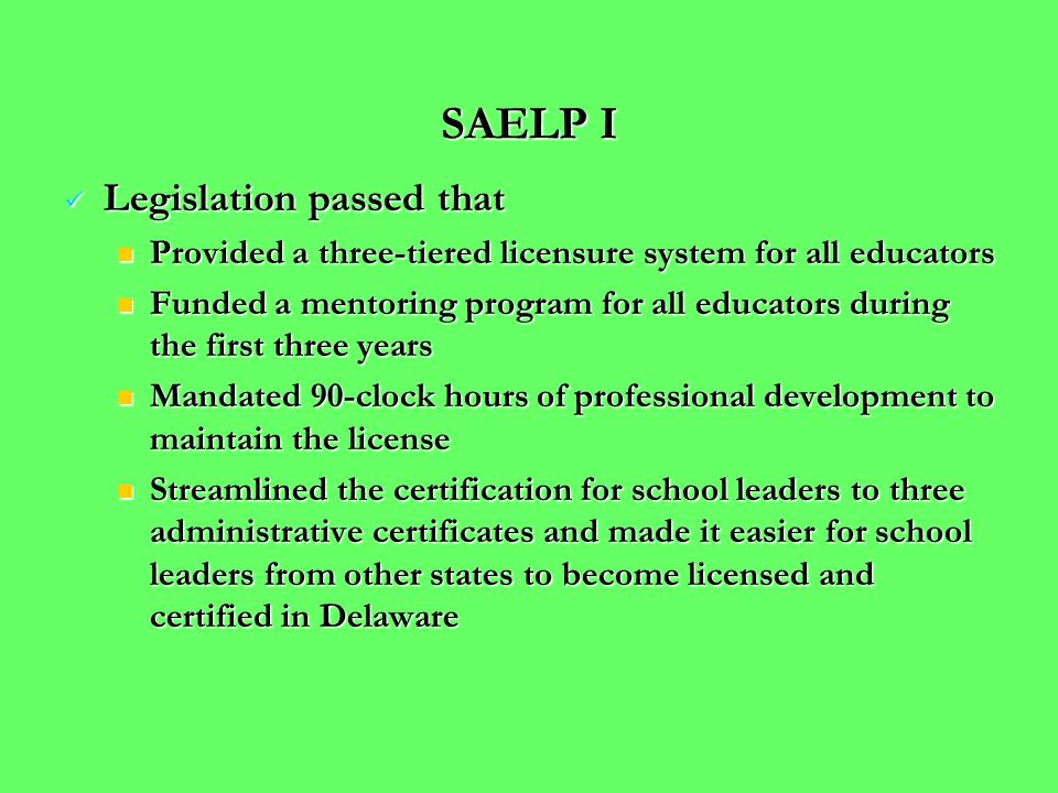 GOALS FOR SAELP II GOALS FOR SAELP II Build a pool of aspiring school leaders by first identifying potential school leaders and providing professional development and a statewide Model Internship Program for School Leaders that focuses on leadership for learning.