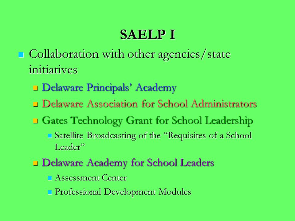 SAELP I Collaboration with other agencies/state initiatives Collaboration with other agencies/state initiatives Delaware Principals Academy Delaware Principals Academy Delaware Association for School Administrators Delaware Association for School Administrators Gates Technology Grant for School Leadership Gates Technology Grant for School Leadership Satellite Broadcasting of the Requisites of a School Leader Satellite Broadcasting of the Requisites of a School Leader Delaware Academy for School Leaders Delaware Academy for School Leaders Assessment Center Assessment Center Professional Development Modules Professional Development Modules