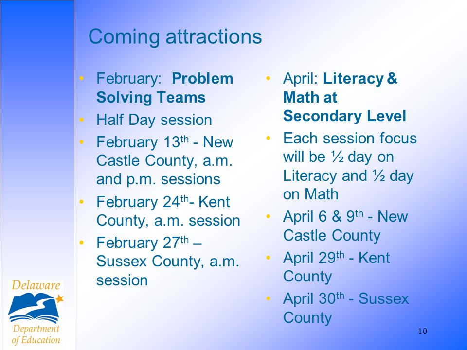 10 Coming attractions February: Problem Solving Teams Half Day session February 13 th - New Castle County, a.m. and p.m. sessions February 24 th - Ken
