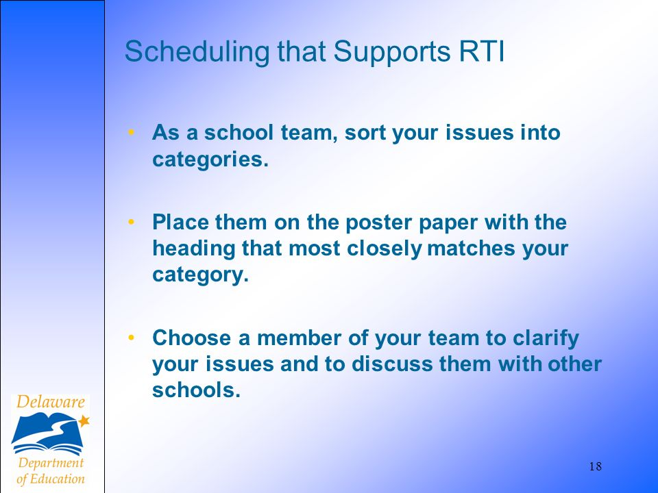18 Scheduling that Supports RTI As a school team, sort your issues into categories. Place them on the poster paper with the heading that most closely