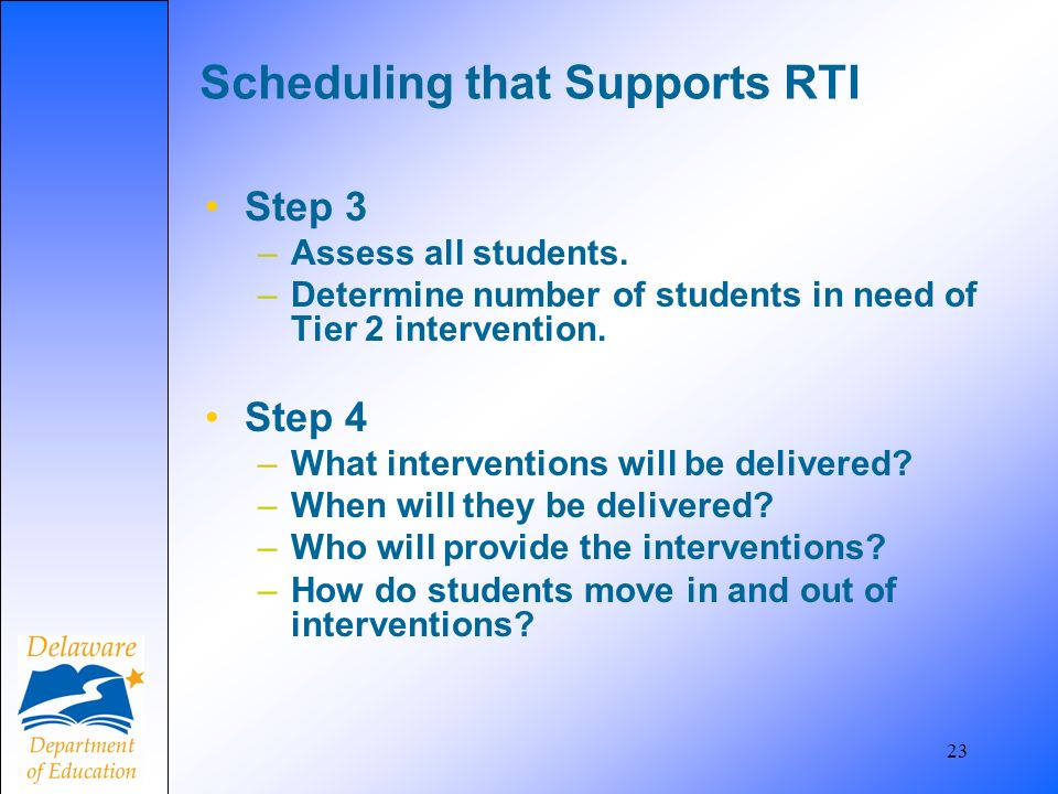 23 Scheduling that Supports RTI Step 3 –Assess all students. –Determine number of students in need of Tier 2 intervention. Step 4 –What interventions