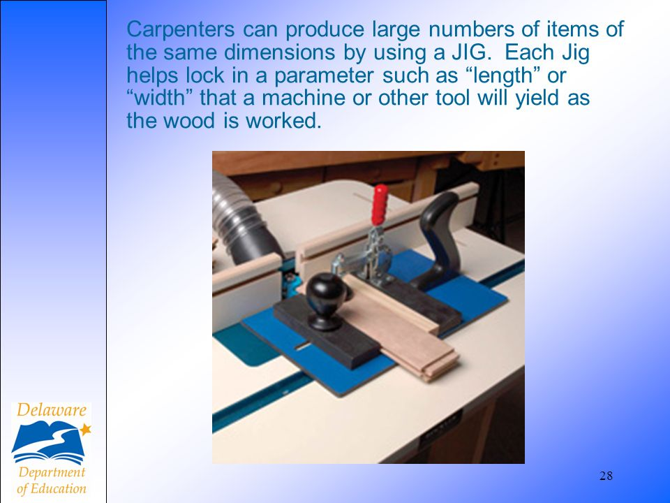 28 Carpenters can produce large numbers of items of the same dimensions by using a JIG. Each Jig helps lock in a parameter such as length or width tha