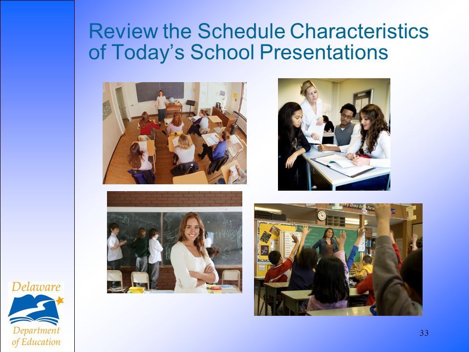 33 Review the Schedule Characteristics of Todays School Presentations