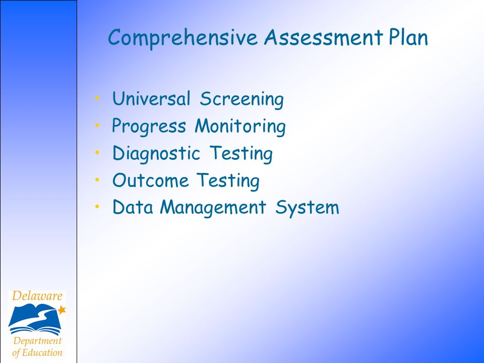 Comprehensive Assessment Plan Universal Screening Progress Monitoring Diagnostic Testing Outcome Testing Data Management System
