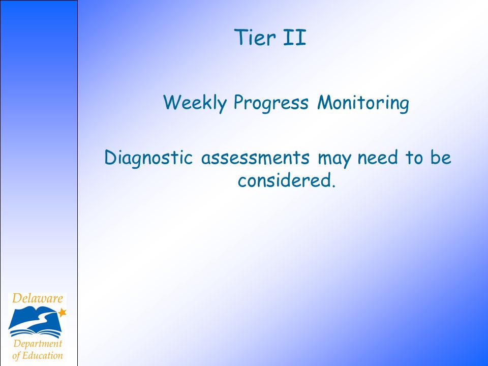 Tier II Weekly Progress Monitoring Diagnostic assessments may need to be considered.