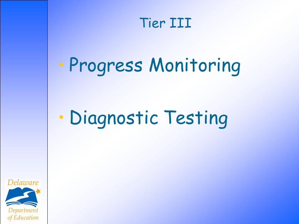 Tier III Progress Monitoring Diagnostic Testing