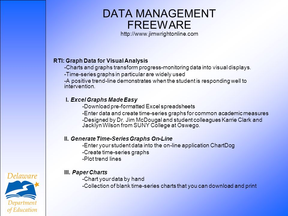 DATA MANAGEMENT FREEWARE http://www.jimwrightonline.com RTI: Graph Data for Visual Analysis -Charts and graphs transform progress-monitoring data into