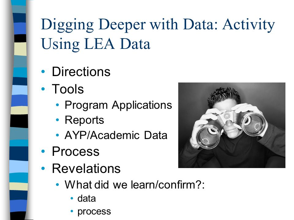 Digging Deeper with Data: Activity Using LEA Data Directions Tools Program Applications Reports AYP/Academic Data Process Revelations What did we learn/confirm?: data process
