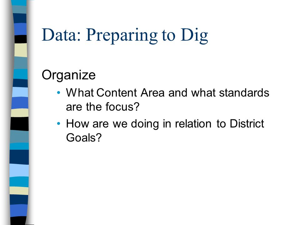 Data: Preparing to Dig Organize What Content Area and what standards are the focus.