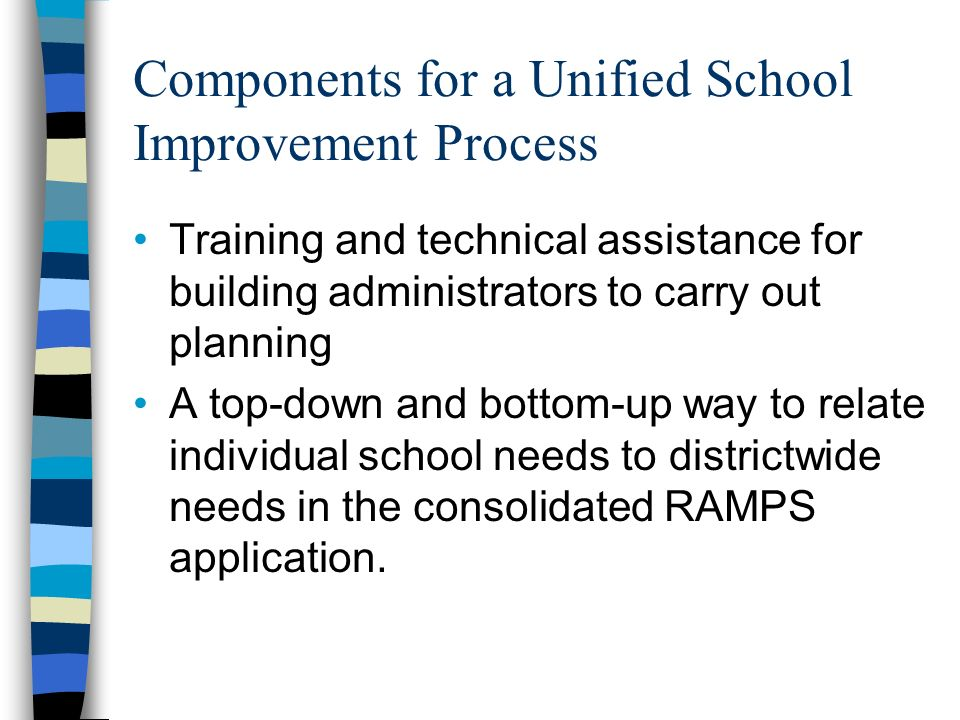 Components for a Unified School Improvement Process Training and technical assistance for building administrators to carry out planning A top-down and bottom-up way to relate individual school needs to districtwide needs in the consolidated RAMPS application.
